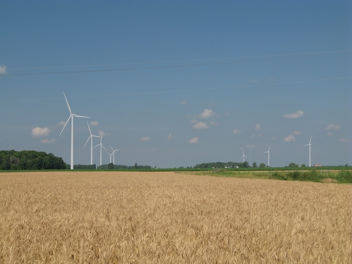 Wind mills producing wind energy at Gratiot Farms.