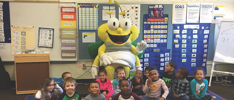 Louie the Lightning Bug teaches school children about electric safety
